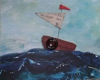 Vintage style greeting card boat on textile mixed media mens / dad's card happy birthday happy fathers day thank you