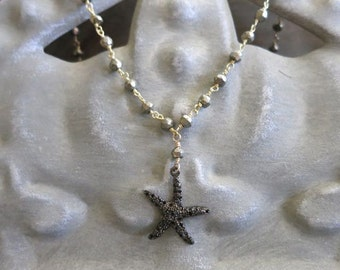 Black spinel Starfish necklace ,spinel starfish necklace pendant pyrite chain, beachy layering, bohemian jewelry, gifts for her