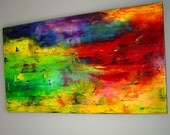 Original Abstract Modern Oil Painting  Fine Art on Canvas 48x24 palette knife technique Contemporary Bright  Wall Decor by Eugenia Abramson