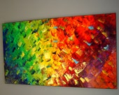 Original Abstract Modern Oil Painting on Canvas 48x24  Fine Art palette knife technique Contemporary Bright  Wall Decor by Eugenia Abramson