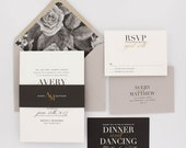 Floral Wedding Invitations, Modern Wedding Invitation, Elegant Wedding, Classic Wedding Invitation Suite - Avery | Deposit
