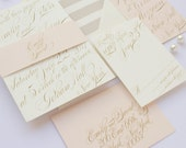 Wedding Invitation, Calligraphy Wedding Invitation, Gold, Blush, Elegant, Classic Wedding Invitation - Emily Deposit