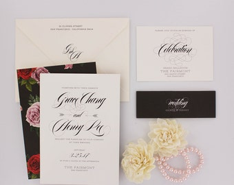 Wedding Invitations, Floral Wedding Invitation, Black and Gold, Roses, Modern, Urban Chic Wedding Invitation - Grace Sample