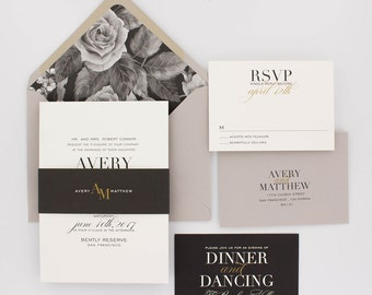 Floral Wedding Invitations, Modern Wedding Invitation, Elegant Wedding, Classic Wedding Invitation Suite - Avery | Deposit