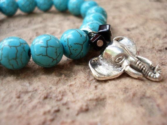 Turquoise Bracelet, Elephant Bracelet, Charm Bracelet, Ganesh Bracelet, Animal Bracelet, African Jewelry, Women's Bracelet, Animal Jewelry