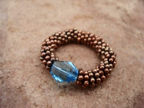 Aquamarine Crystal Ring, Copper Beaded Ring, Stretch Women's Ring , Gemstone Ring, Boho Ring, Bohemian Ring, Gift For Her, Beaded Ring