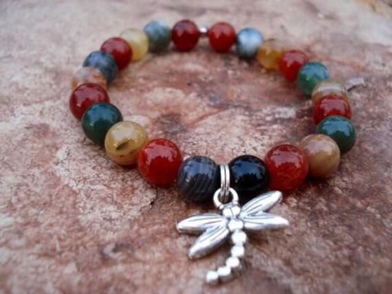 Dragonfly Charm Bracelet, Agate Bracelet, Beaded Bracelet, Stretch Bracelet, Gemstone Bracelet, Women Jewelry, Fantasy Jewelry, Boho Jewelry