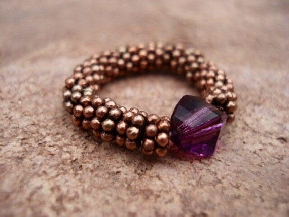 Amethyst Crystal Ring, Copper Beaded Ring, Stretch Ring, Gift For Her, Gemstone Ring, Women's Ring, Adjustable Ring, Purple Ring, Boho Ring