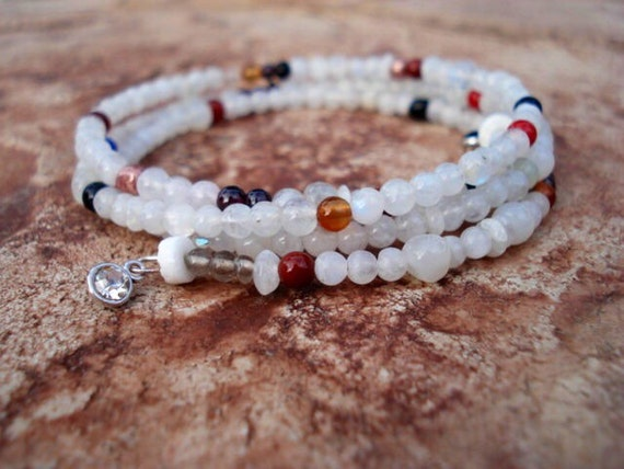 Memory Wire Bracelet, Moonstone Bracelet, Memory Wire Wrap Bracelet, Gemstone Bracelet, Tiny Bead Bracelet, Women's Bohemian Bracelet, Boho