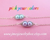 Two peas in a pod best friend bracelet set - Choose your colors! Made to order