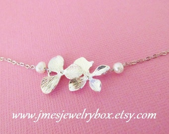 Silver orchid bracelet with freshwater pearls