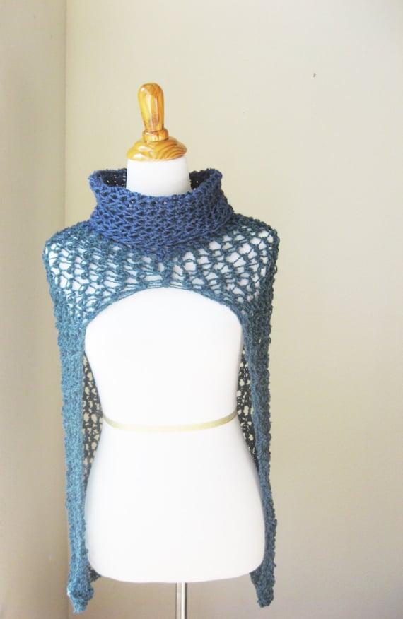 Knitting Pattern Turtleneck Capelet : CAPELET PONCHO TURTLENECK Blue Teal Capelet Crochet Poncho
