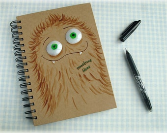 Monster Notebook Boys Gift Monstrous Ideas Spiral Bound Notepad Journal Diary Polymer Clay Eyes