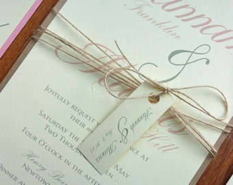 Pink and Kraft Brown Twine Rustic Country Wedding Invitation Set - Rustic Vintage Country Twine