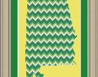 Chevron stripe Alabama silhouette: cool cross-stitch pattern