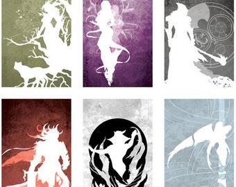 Guild Wars Minimalistic 11 x 17 or 13 x 19 Gods of Tyria Prints: Full set of all six,