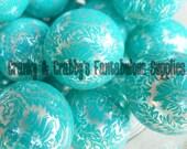 20mm Resin Gumball Damask Beads Aqua  -  Chunky Necklaces - Set of 10 - Aqua on white