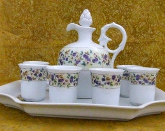 Handpainted porcelain decanter, cups and tray