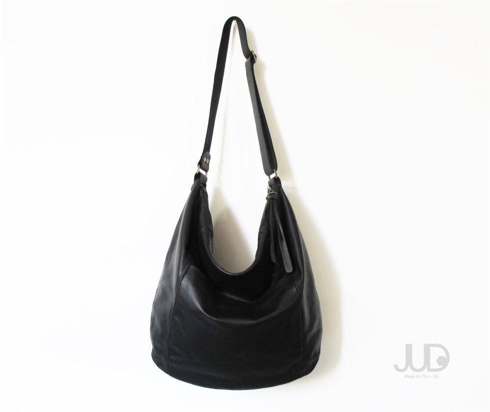 Black leather bag SALE leather hobo bag soft leather bag