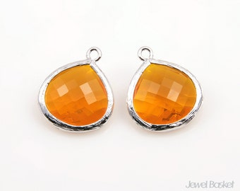 2pcs - Honeystone Color and Polished Silver Framed Glass Pendent / honey / red / rhodium plated / glass / 15mm x 18mm / SHSS007-P