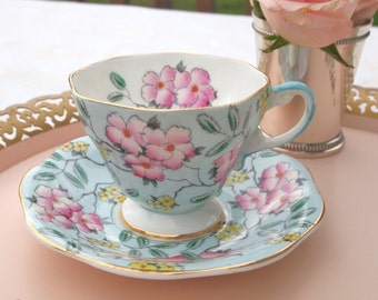 Vintage Teacup Set Floral Chintz Blue and Pink Fine Bone China Tea Cup and Saucer Foley Springdale Hand Painted - England  Circa 1930's 40's