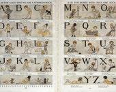 Beautiful Vintage Alphabet Original Print from Children's Vintage English Encyclopedia