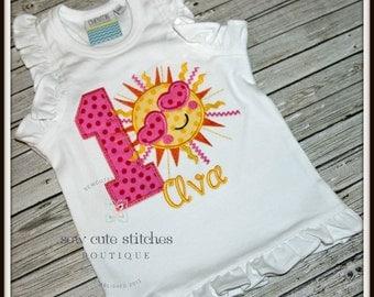 Custom Embroidered Sunshine Birthday Shirt - Little Miss Sunshine Shirt - Sun Birthday Shirt