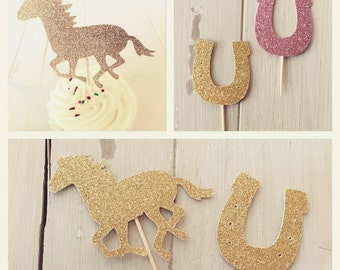 Horse Cupcake Toppers, Cowgirl Cupcake Toppers, Kentucky Derby Party Decorations, Mix of 12 Horse and Horseshoe Party Picks