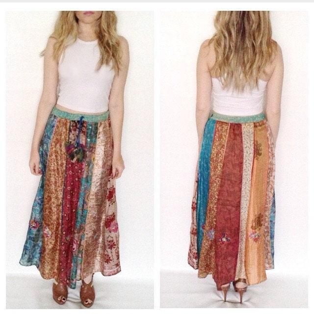 vintage maxi skirt multi color print striped silk boho hippie