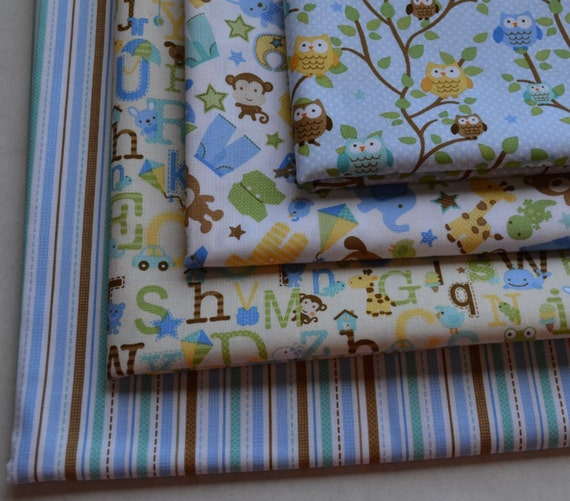 Sale children 39 s fabric 4 fat quarters fabric by runnstitch for Childrens fabric bundles