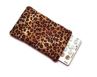Birth Control Pill Case, Credit Card Sleeve, Slim Wallet - Leopard Print