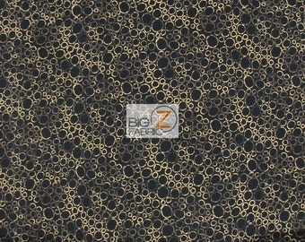 """100% Cotton Fabric By Hoffman California - Balihali Black/Gold Circles - 45"""" Width Sold By The Yard (FH-1490)"""