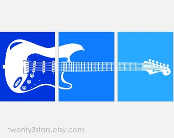 Electric Guitar Art Print Triptych, Choose Any Colors, Perfect Gift for any Music Lover or Guitar Player, or for Rock Star Nursery