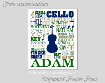 Cello Typography Art Print, Choose Your Colors, Perfect Gift for any Music Lover or Cellist