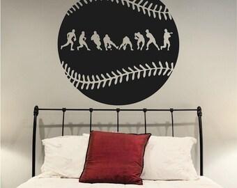 Baseball Fielder Action Wall Decal, Baseball Wall Art, Baseball for Kid's Room, Baseball Wall Decor, Sport Mural, Baseball Graphics, s24