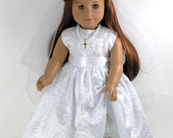 Handmade Communion Doll Dress for American Girl - Cross Necklace, Veil, Pantalettes - White Satin, Floral Lace Overlay - Shoes, Socks Option
