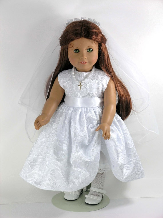 first communion american girl doll dress cross necklace. Black Bedroom Furniture Sets. Home Design Ideas