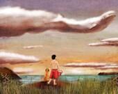 Cloud Gazing Illustration Art Print (beluga whale)