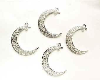 4 Silver Plated Crescent Moon Filigree Charm/Connectors - 4-CMC-2