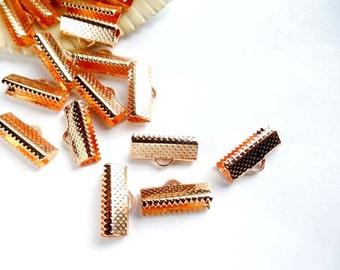 20 Rose Gold Crimp Ribbon End Caps - 16mm.