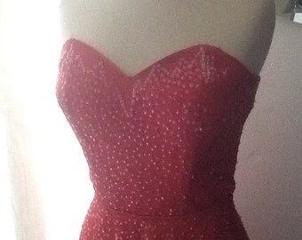 Lovely 1950's Sequinned Tulle Prom Dress, Deep pink / red Bombshell, Vintage