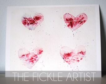 Watercolor Valentine Hearts Print