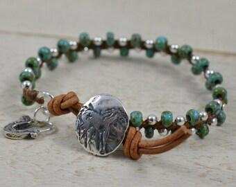 "Sterling Silver and Turquoise Czech Beaded Wrap Bracelet ""Silver Lining"" Bracelet on Walnut Brown Irish Linen Cord Sterling Silver Beaded"