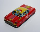Vintage Tin Toy Fire Chief's Cruiser Metal Litho Friction Car with Firefighters Bright Colors and Great Graphics Chippy Paint Made in Japan