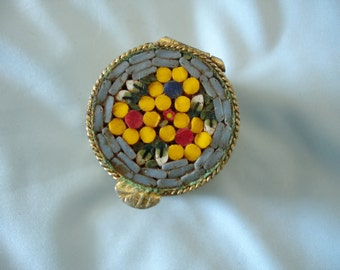 Vintage Early Mid Century Italian Micro Mosaic Pill Box Trinket Box in Grey/Blue