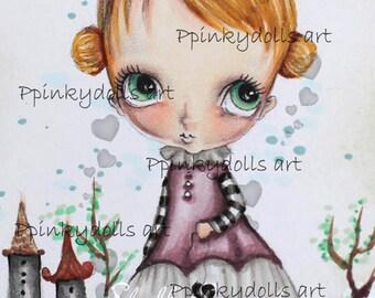 INSTANT DOWNLOAD Digital Digi Stamps..by Chrishanthi's art,Heart Princess'
