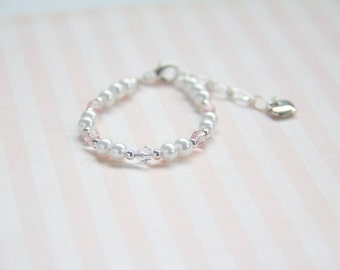 Baby Bracelet for 0-12 months - 6 months to 2 yrs - 2-8 years - Handmade - Swarovski crystal, White and pink theme w/ heart link extension.