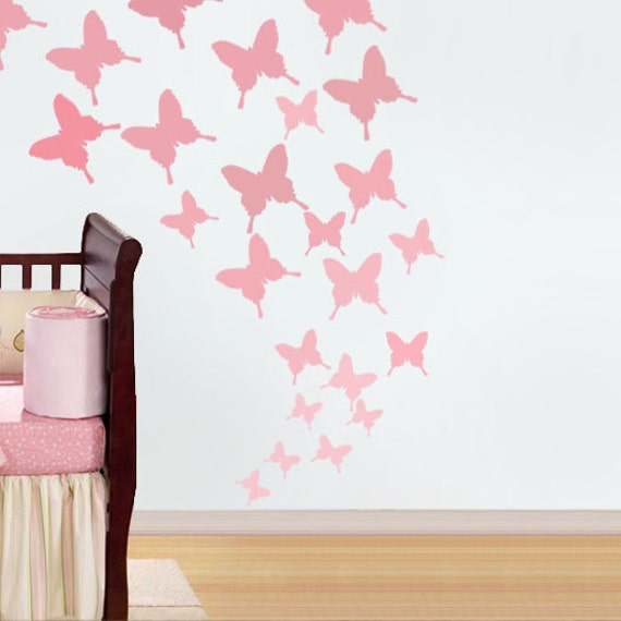 butterfly wall art stencil the image. Black Bedroom Furniture Sets. Home Design Ideas