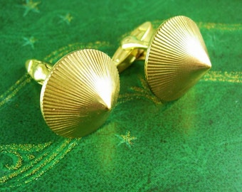 Naughty Cufflinks pointed madonna cone bra gent vintage cuff links risque burlesque erotica signed germany gold