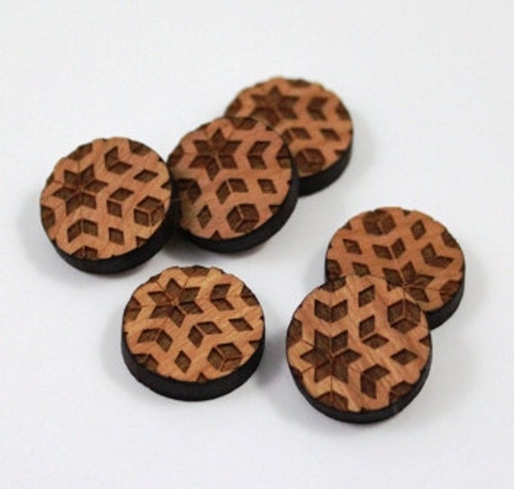 Laser Cut Supplies-8 Pieces.Retro Charms - Cherry Wood Laser Cut Retro -Earring Supplies-  Little Laser Lab Sustainable Wood Products